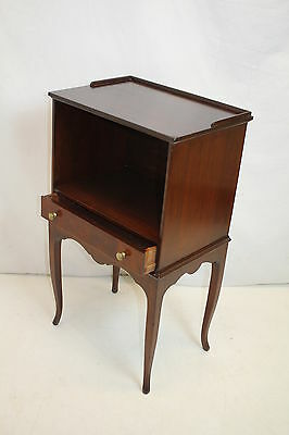 English Bed Side Night End Table, with Gallery Top Shelf & Drawer, c. 1920's