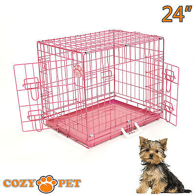 Dog Cage in Pink or Blue with Sheepskin Bed Cozy Pet Dog Crate Puppy 3 Sizes Cat