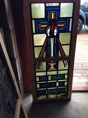 Sg 210 Antique Painted And Fired Candle Window Religious Symbolism
