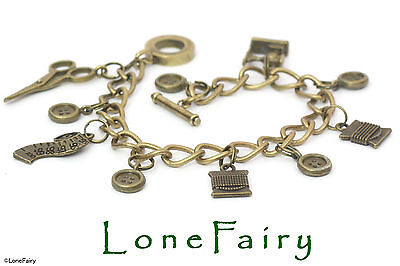Bronze Plated Sewing Seamtress Keyring or Charm Bracelet Scissors Button