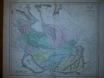 Antique Gall & Inglis Large Folio Map Of Persia 1850 Hand Coloured