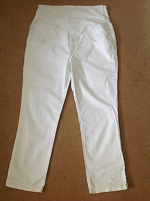 "VGC H&M Mama Maternity Trousers White Summer Size XL Over Bump Cotton 28"" Leg"