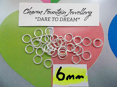 JEWELLERY WHOLESALE BULK FINDING SUPPLY X250 JUMPRINGS SILVERPLATED 6mm (F23)