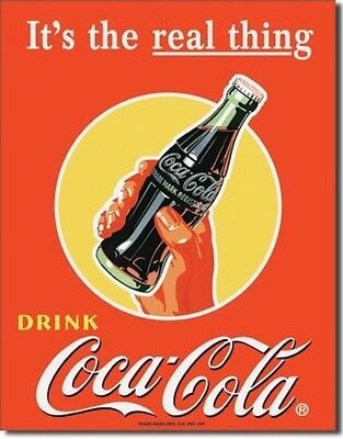 COKE Coca Cola Soda Pop Its The Real Thing Vintage Advertising Tin Sign  #1053