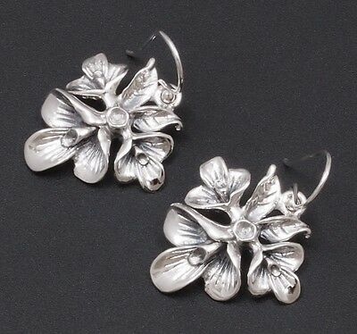 1 Pair Artisan Orchid Flower Womens Earrings 925 Sterling Solid Silver New