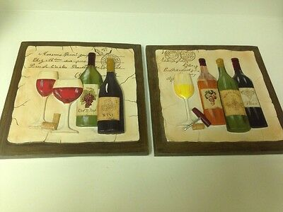 Set Of 2 3D Wine Theme Wall Plaques! Wine Kitchen Decor! Grape & Wine! Bordeaux!