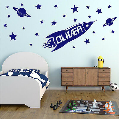 ROCKET Personalised NAME Space Planet Stars Boys Bedroom Wall Art Sticker Decal