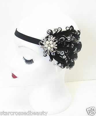 Black & White Silver Pearl Feather Headpiece Headband Vintage Flapper 1920s M98