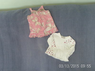 Baby Girls 6-9 Months - Two Top Set - Pink/White Floral - Next