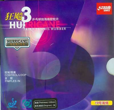 2x Double Happiness Hurricane 3 Pips-In Table Tennis Rubber/Sponge, Champion's S