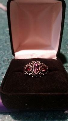 NEW Vintage Amethyst and Garnet Ring in Elaborate Sterling Silver setting size 6