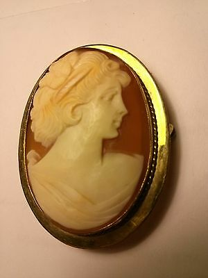 Vintage Victorian hand-carved shell cameo brooch/pendant