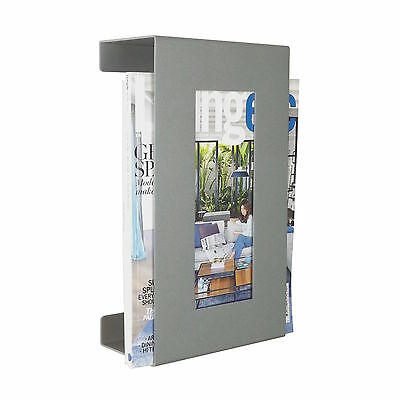 Contemporary Wall Mounted Magazine Newspaper Storage Rack in Metallic Silver