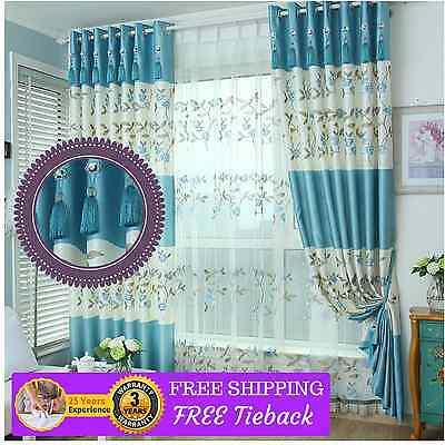 Blockout blackout Blue Drapes curtains CustomMade New Country  Eyelet Pleats Rod