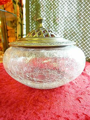 Crackle Glass Potpourri Bowl w/ Ornate Silverplate Metal Cover openwork India