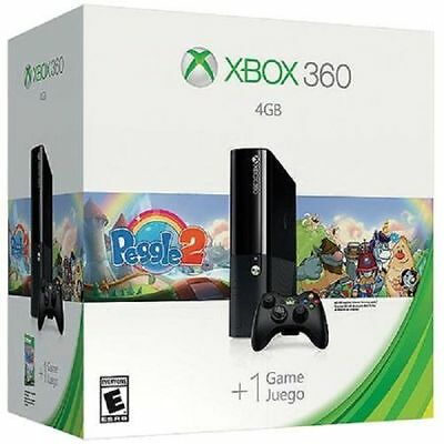 New Microsoft Xbox 360 -  Peggle 2 Bundle Latest Model 4GB One Black Console
