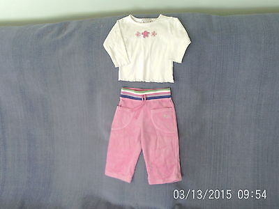 Baby Girls 6-9 Months- White Long Sleeve Top & Pink Velour Trousers Outfit- Next
