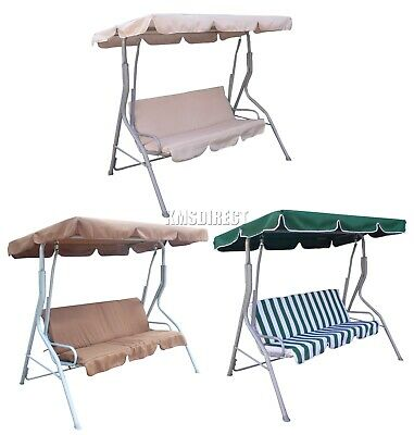 WestWood Garden Metal Swing Hammock 3 Seater Chair Bench Outdoor Canopy SC01