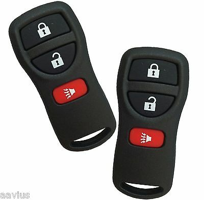 Best 2 Replacement Keyless Entry 3 Button Remote Key Fob Alarm For Nissan Black
