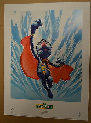 Sesame Street Super Grover Lithograph by Alex Ross Palisades Super rare!