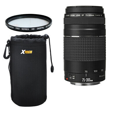 HOLIDAY KIT Canon EF 75-300mm f/4-5.6 II For Canon EOS Rebel T5i+UV Filter +Case