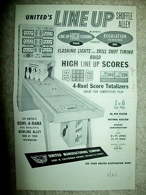 1961 United LINE UP Shuffle Alley & DIXIE Ball Bowler Flyer