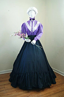 I-D-D  Re-enactment Beautiful Dickens VICTORIAN Skirt, Lilac  Blouse & Sash Set