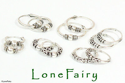 Pair of Solid 925 Sterling Silver Bali Style Hoop Earrings Ethnic Hippy Festival