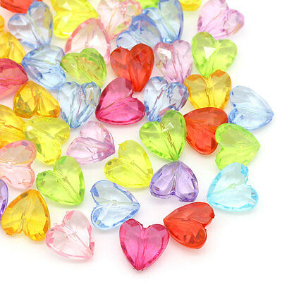 100PCs Mixed Acrylic Spacer Beads Transparent Love Heart Jewelry Making 12x12mm