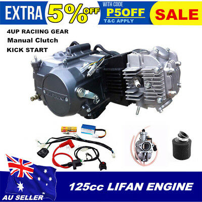 LIFAN 125cc manual Engine motor full Wiring harness Carby air filter kit ATV PIT
