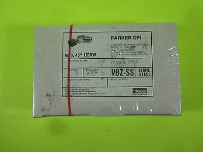 Parker CPI Male 45° Elbow Tube 316SS -- 8-6 VBZ-SS -- (Lot of 5) New