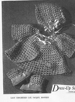 VINTAGE 1943 - 1800'S STYLE KNEE BOOTEE'S AND BONNET CROCHET PATTERN...# 766