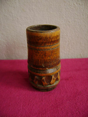 ANTIQUE PRIMITIVE ENGRAVED & LACQUERED WOODEN WOOD MORTAR /  BOWL / CUP,