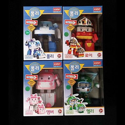 "Robocar POLI ROY AMBER HELLY Transforming figures 4.7"" 4pcs Transformers Academy"