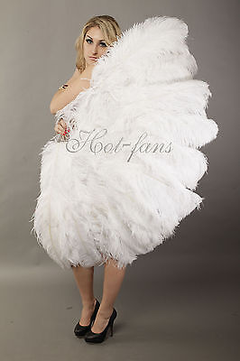 "Large 2 layers 34""x 60"" White Ostrich Feather fan Burlesque with gift box"