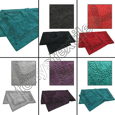 Diamante Sparkle 100% Cotton Heavy 2 Piece Bath Mat Pedestal Bathroom Toilet Set