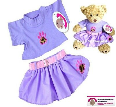 Teddy Bear Clothes fit Build a Bears Teddies Purple PAW Print Skirt Outfit Set