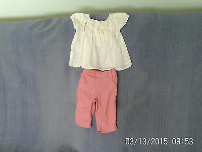 Baby Girls 9-12 Months - White Embroidered Top, Pink Cropped Trousers - Next