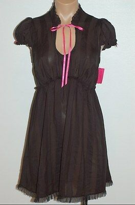 NEW BETSEY JOHNSON Sexy Hot Babydoll Nighty Gown With G-String Black-S