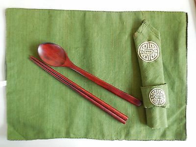 Chinese  Chopsticks Placemats Napkins Spoons Dinner Set 4 each