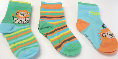 Pack Of 3  Boys  Cotton Rich  Socks Safari  Patterns   3 Sizes To Choose