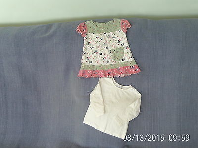 Baby Girls 9-12 Months - Two Tops - Pink/White/Green - Next
