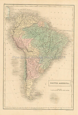 South America Antique Map Black 1851 Original