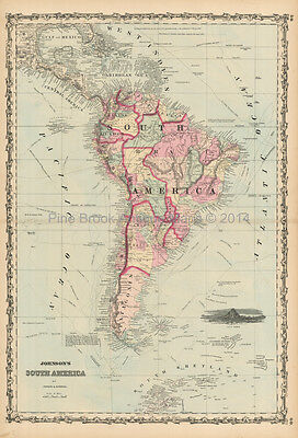 South America Antique Map Johnson 1861 Original