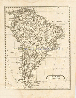 South America Antique Map Pinkerton 1804 Original