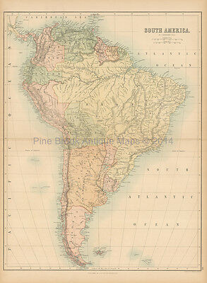South America Antique Map Black 1865 Original