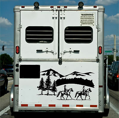 Horses and Landscape Border Horse Trailer Truck RV Camper Decal Stickers 22x40