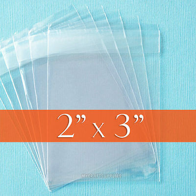 """100 Clear Cello Bags, 2x3 inch OPP Poly - 2 x 3"""" Resealable Adhesive Cellophane"""