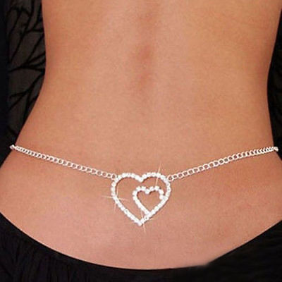 Fashion Jewellery Double Heart Rhinestone Belly Waist Chain  Lower Back Uk Sell