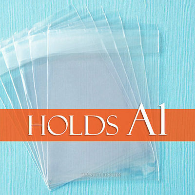 """100 Clear Cello Bags,3 13/16"""" x 5 3/16"""" inch, for A1 Card + Envelope. Cellophane"""